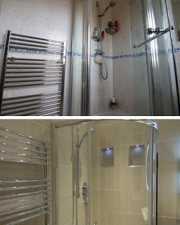 Before and after shower screen