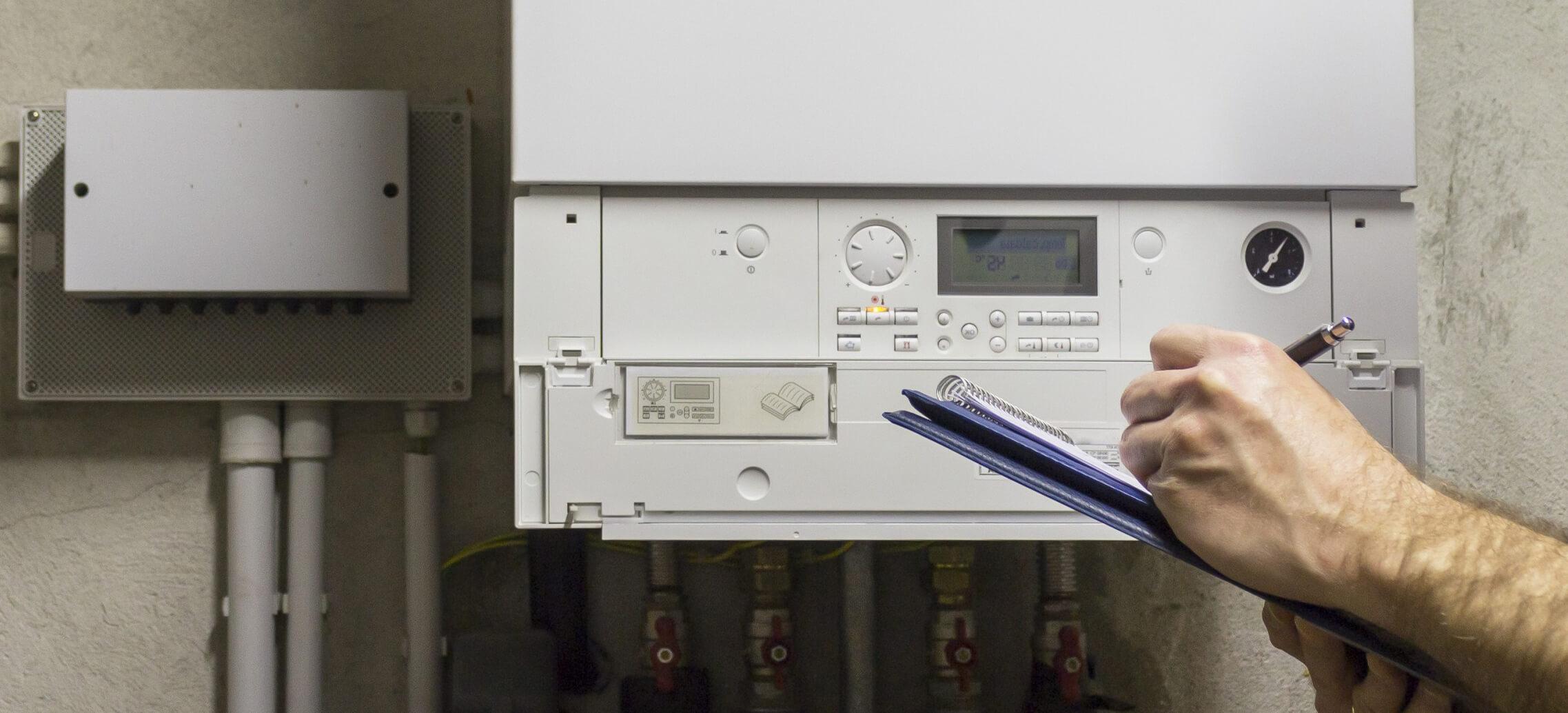 An image of modern condensing boiler