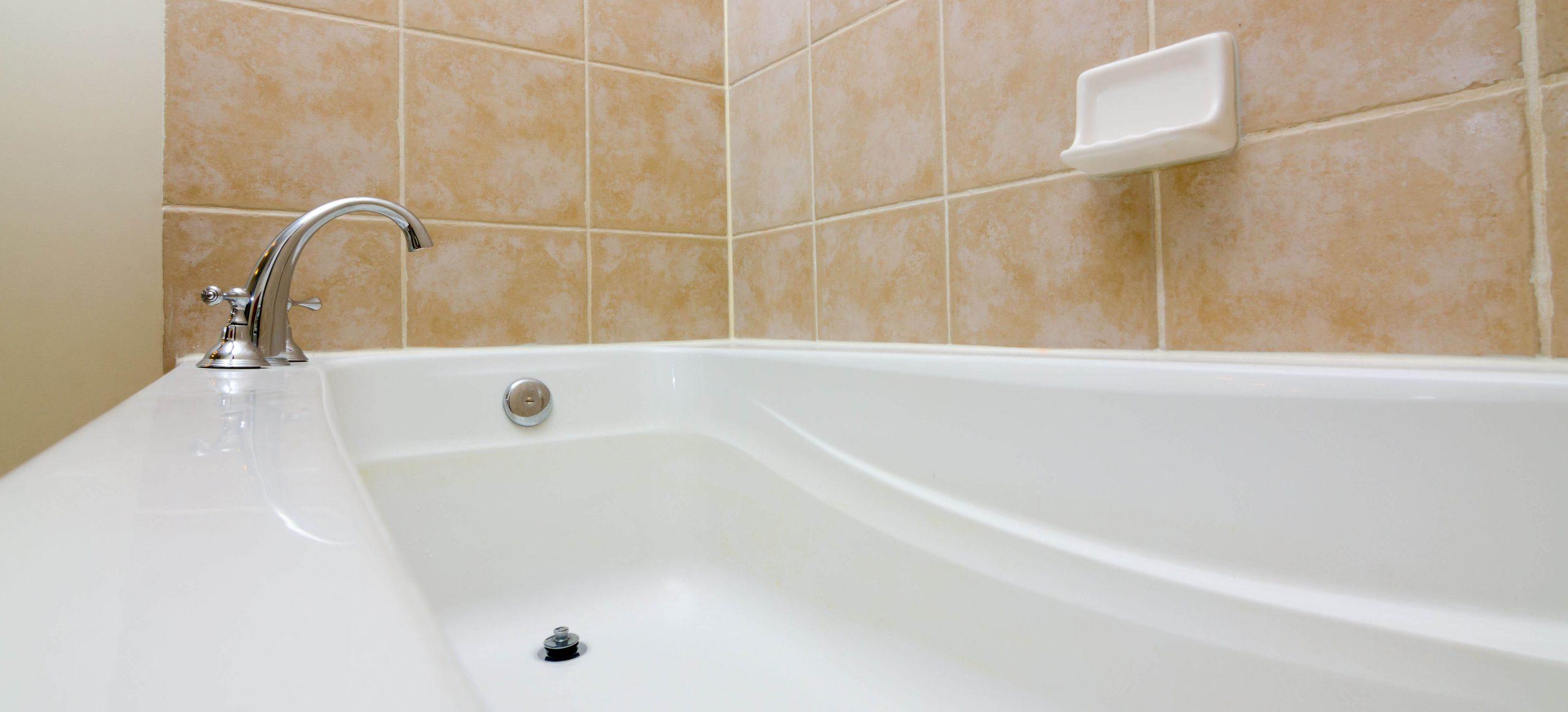 A clogged bathtub drain