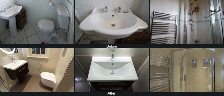 Before and after the bathroom refurbishment