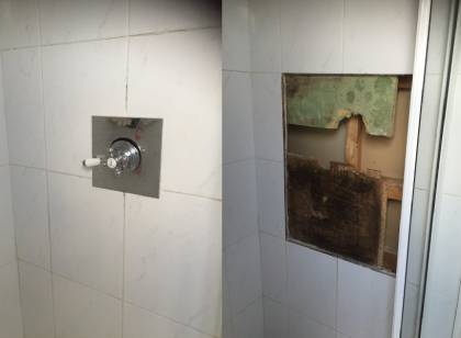 Shower with mismatched tiles